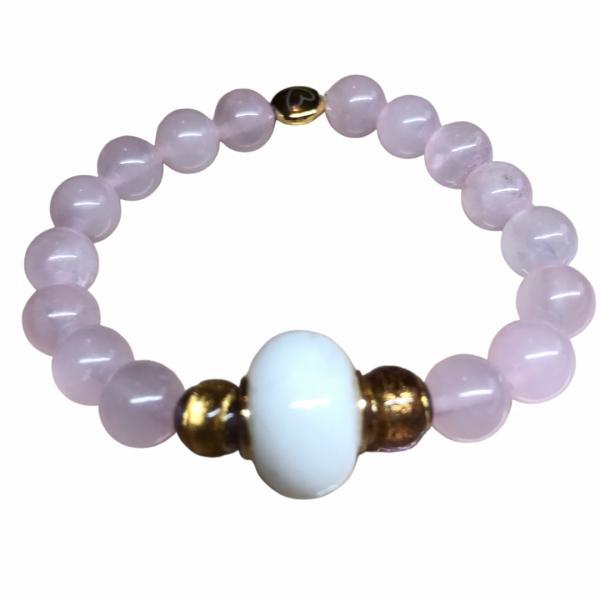 bracelet quartz rose perle de lait maternel